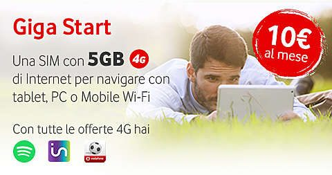 Vodafone Giga Start: fino a 5 gb al mese